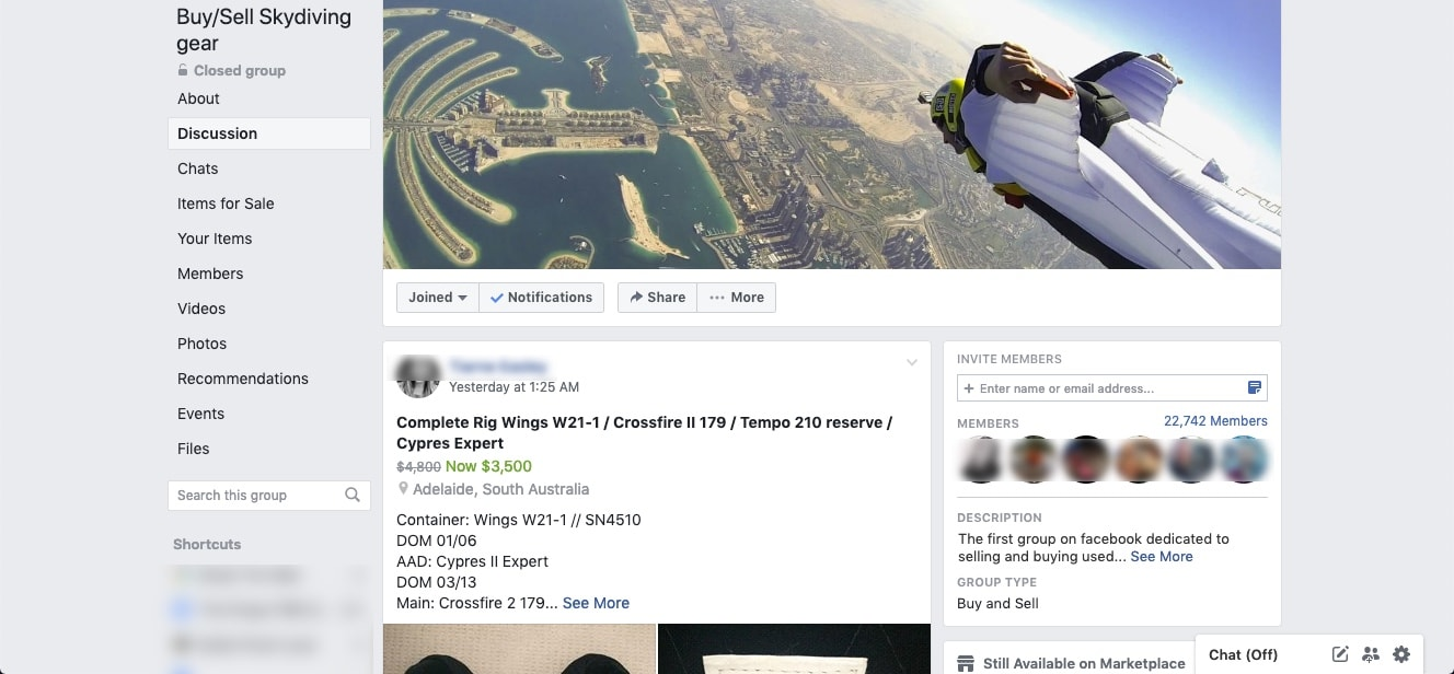 Facebook's Buy:Sell Skydiving Gear Group